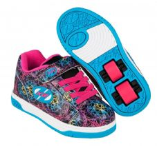 Heelys X2 Dual Up Black/Cyan/Neon Multi